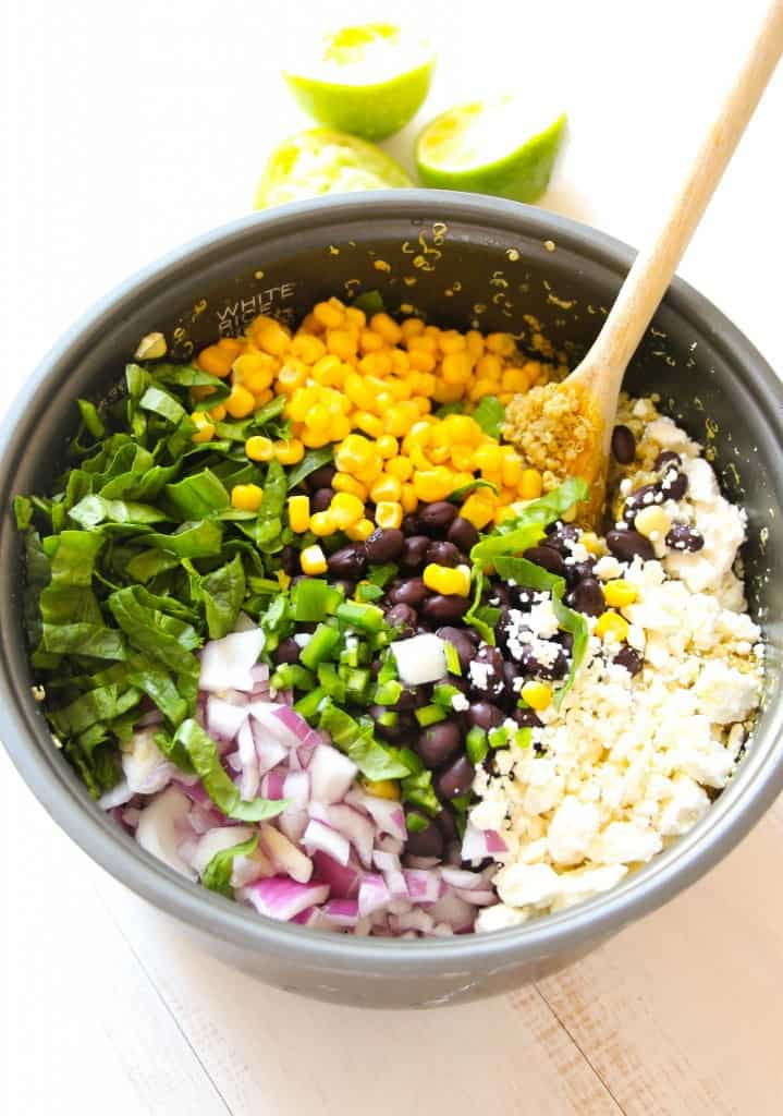filling quinoa salad recipe with creamy black beans, sweet corn, green ...