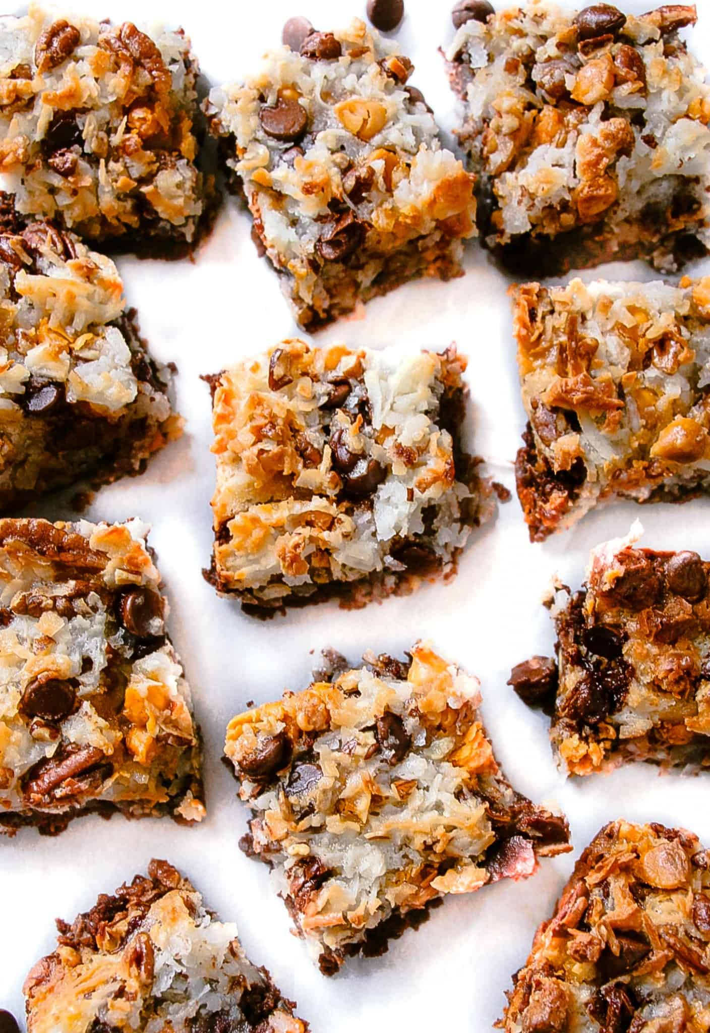 7 layer coconut macaroon brownies layers of happiness