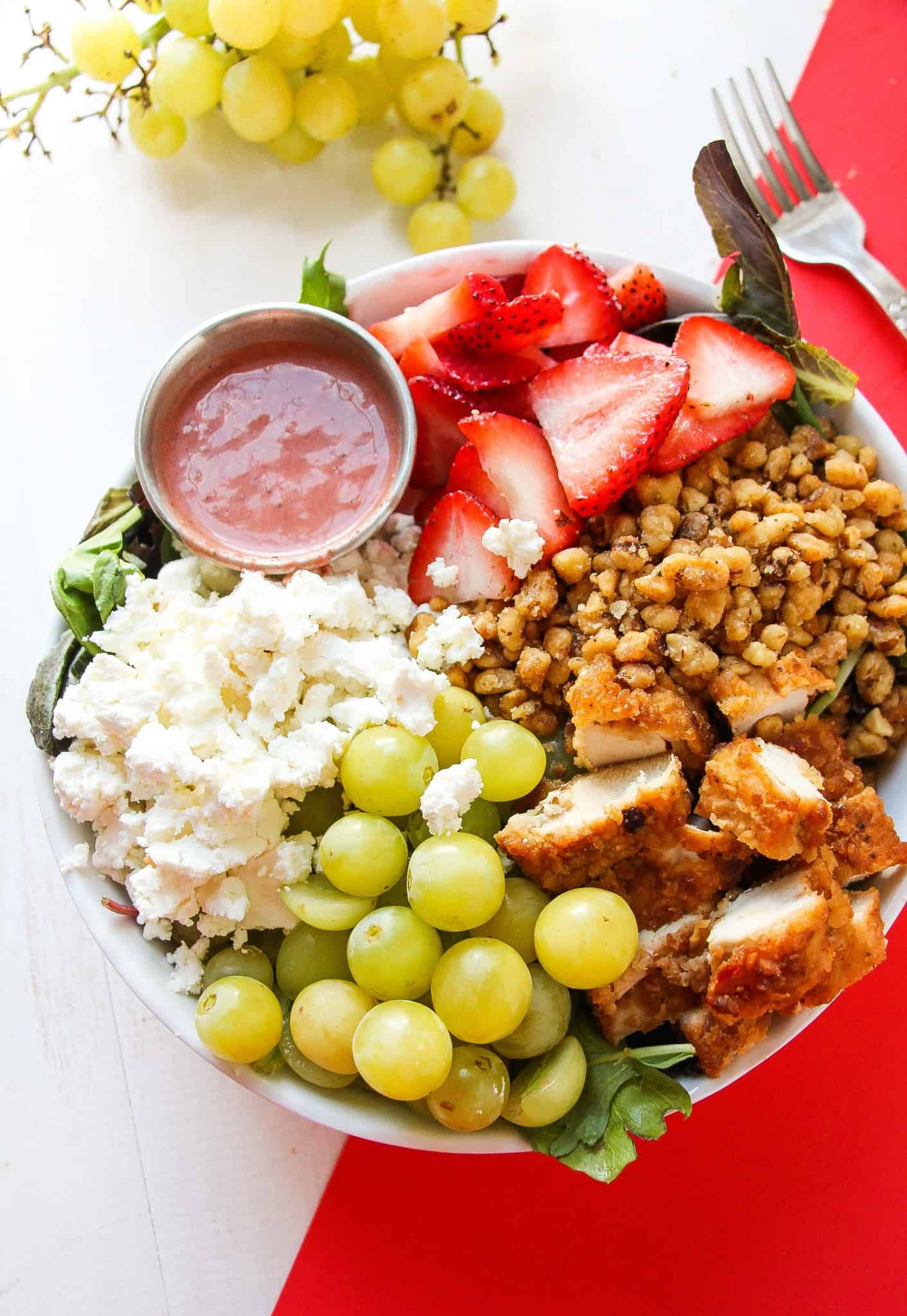 Creamy Strawberry Balsamic Dressing and CANDIED walnuts, goat cheese ...