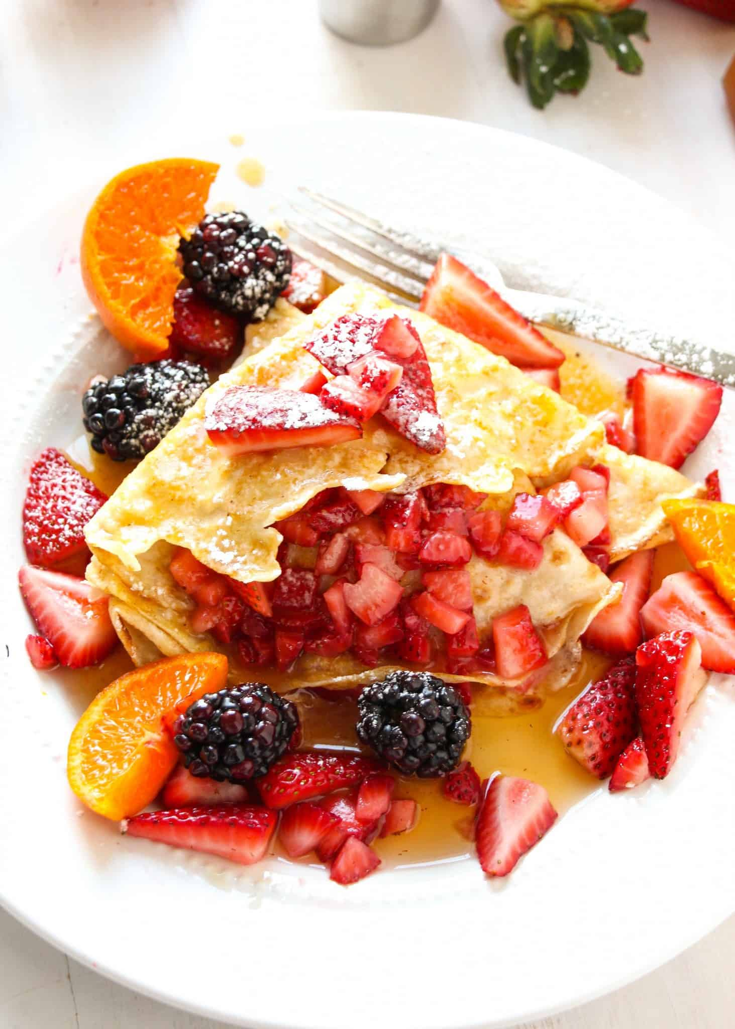 Homemade Strawberry Salsa Crepes with Cinnamon Roll Syrup - Layers of Happiness