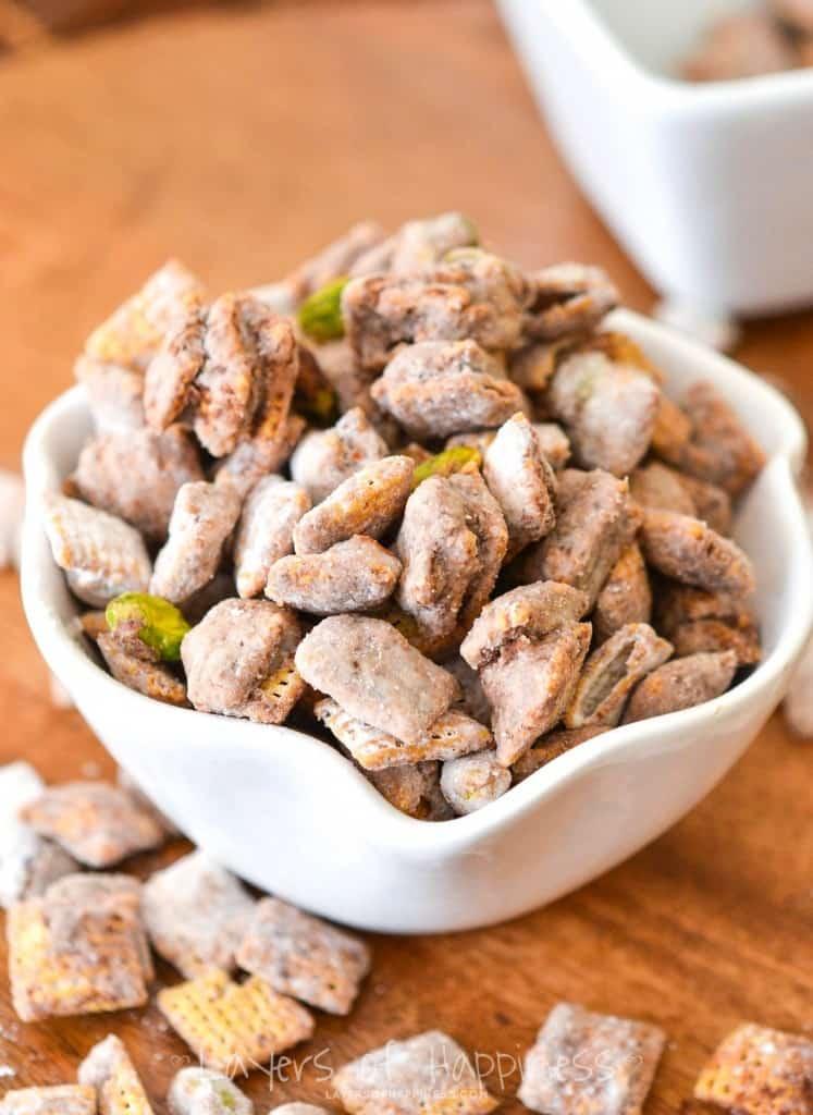 Sea Salt Pistachio Nutella Puppy Chow