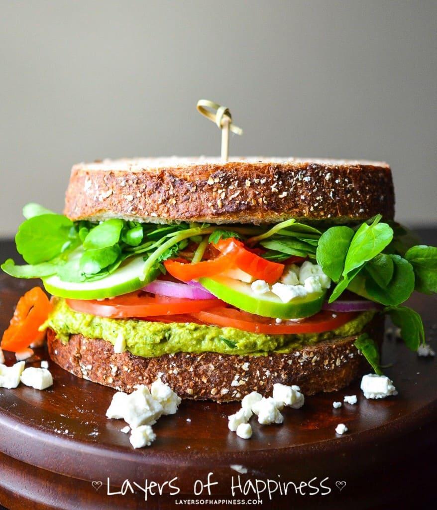 loaded mediterranean veggie sandwich layers of happiness