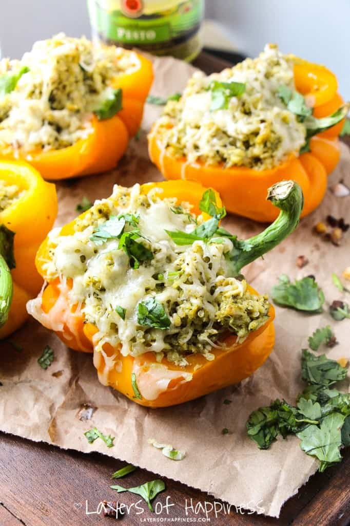 pesto chicken stuffed peppers