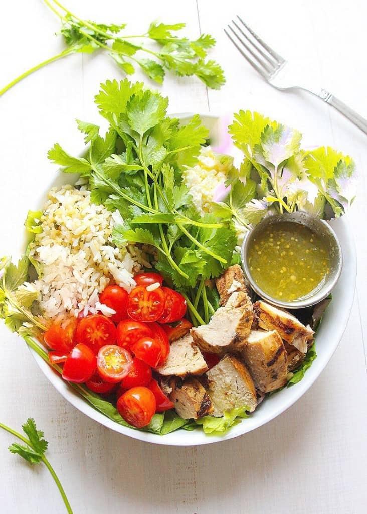 Skinny Salsa Verde Chicken Salads