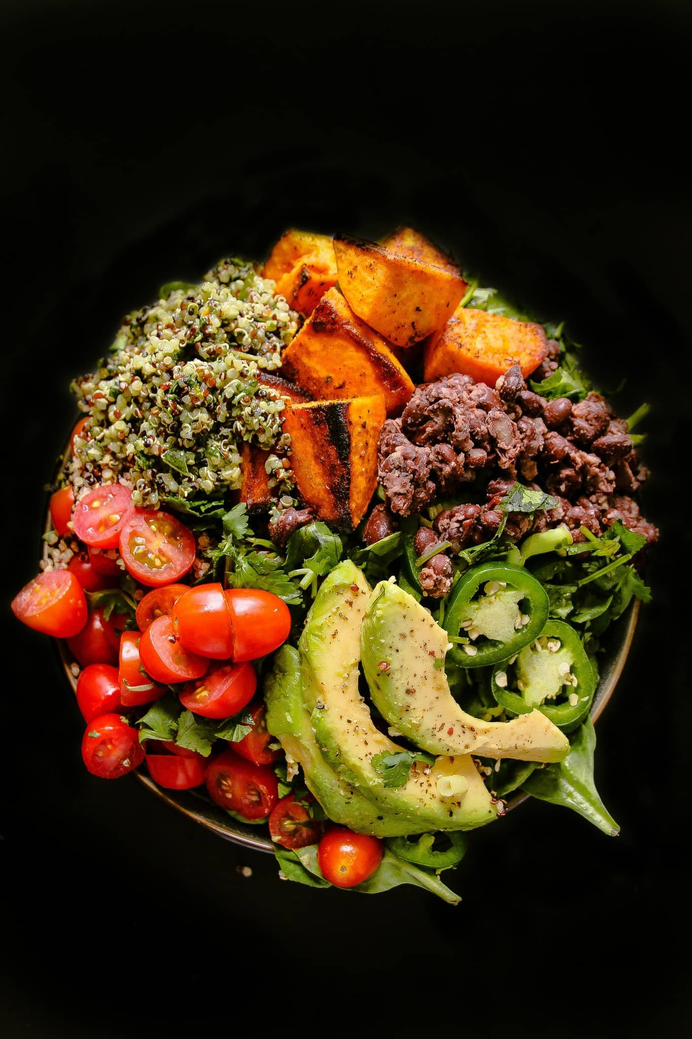 Spicy Roasted Sweet Potato Quinoa Bowls Layers Of Happiness