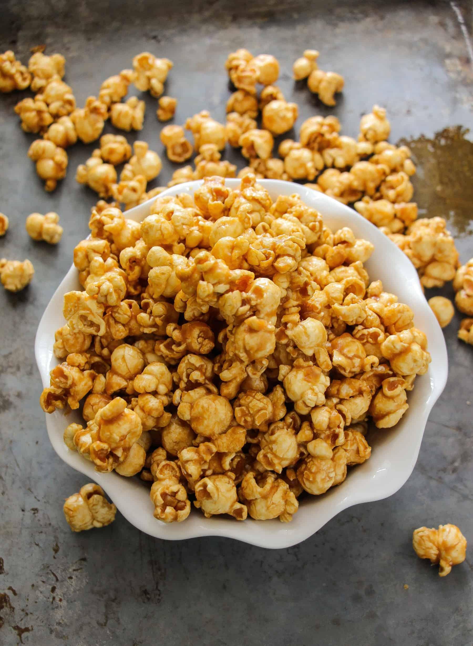 Easy 10 Minute Microwave Caramel Corn